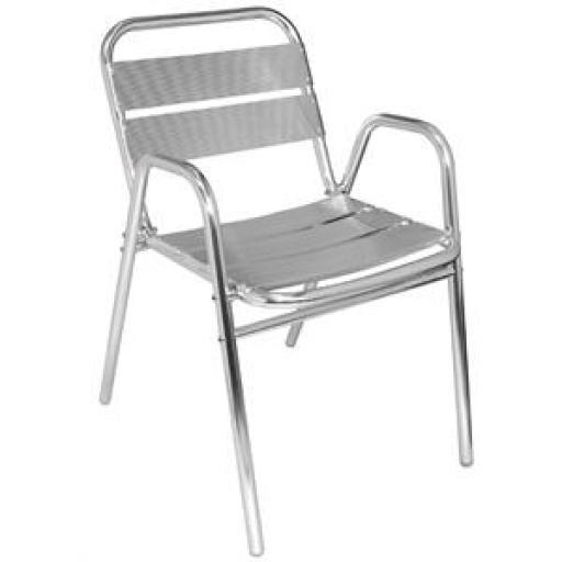 Juego de 4 sillas de terraza brazos arqueados de aluminio 780mm. apilables Bolero U501