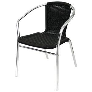 Juego de 4 sillas de terraza negras de aluminio y polietileno imitación mimbre apilables Bolero U507