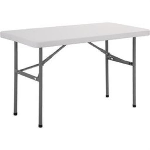 Mesa rectangular plegable blanca 122cm. Bolero U543