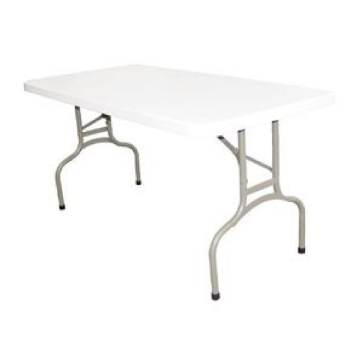 Mesa rectangular plegable blanca 152cm. Bolero U544