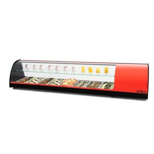 Vitrina refrigerada de tapas con doble piso 8 bandejas GN1/3 1808mm Arilex 8VTG DOBLE