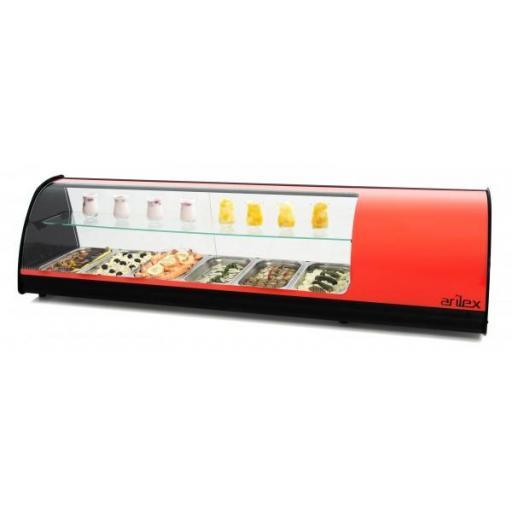 Vitrina refrigerada de tapas con doble piso y placa lisa 1456mm Arilex 6VTL DOBLE