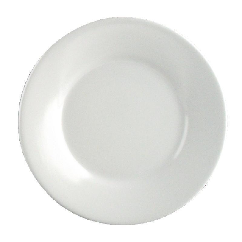 Juego de 6 platos llanos de borde ancho blancos de melamina Kristallon Olympia