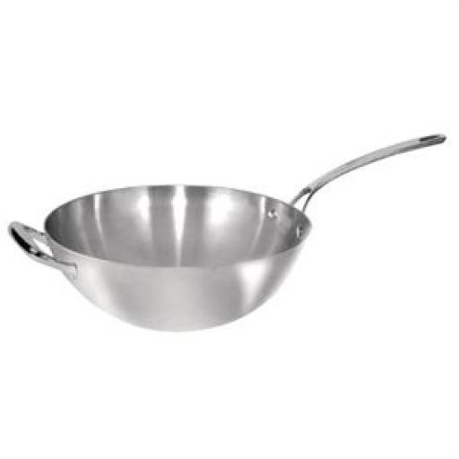 Wok de base plana Tri-wall Vogue acero inoxidable Y261