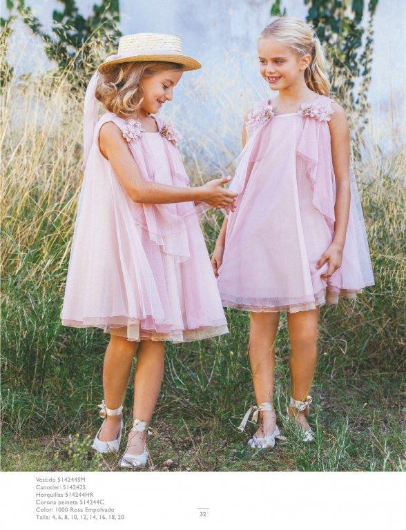 Vestido Amaya tul rosa evasé