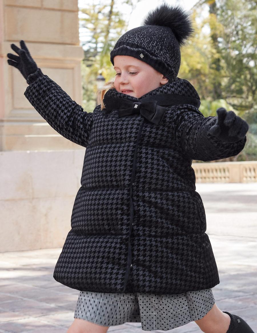 Parka-abrigo negra acolchada reversible