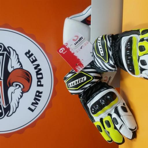 GUANTE DE INVIERNO R 9 Piel Racing con protecciones de carbono. Blanco y Fluor  [2]