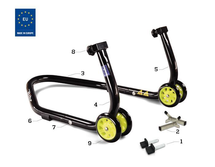 Caballete trasero universal desmontable Bihr con soportes en V para diábolos, y en L para basculante. Color negro y ruedas amarillas. Con estuche de transporte.