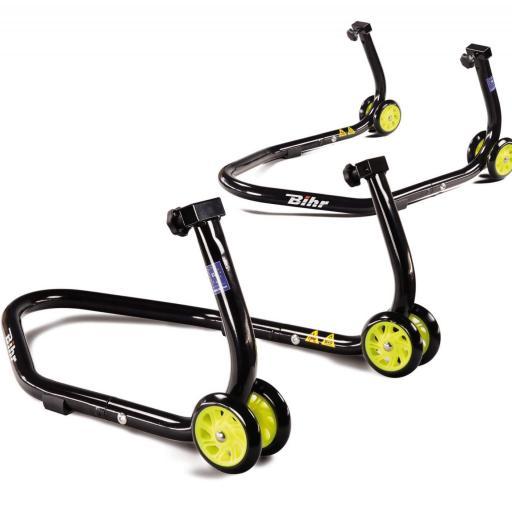 Caballete trasero universal desmontable Bihr con soportes en V para diábolos, y en L para basculante. Color negro y ruedas amarillas. Con estuche de transporte. [2]