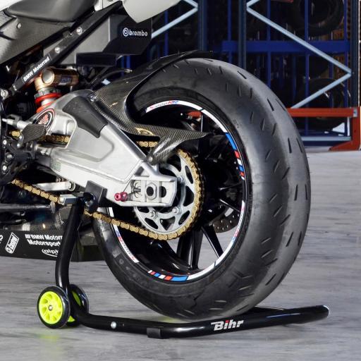 Caballete trasero universal desmontable Bihr con soportes en V para diábolos, y en L para basculante. Color negro y ruedas amarillas. Con estuche de transporte. [3]