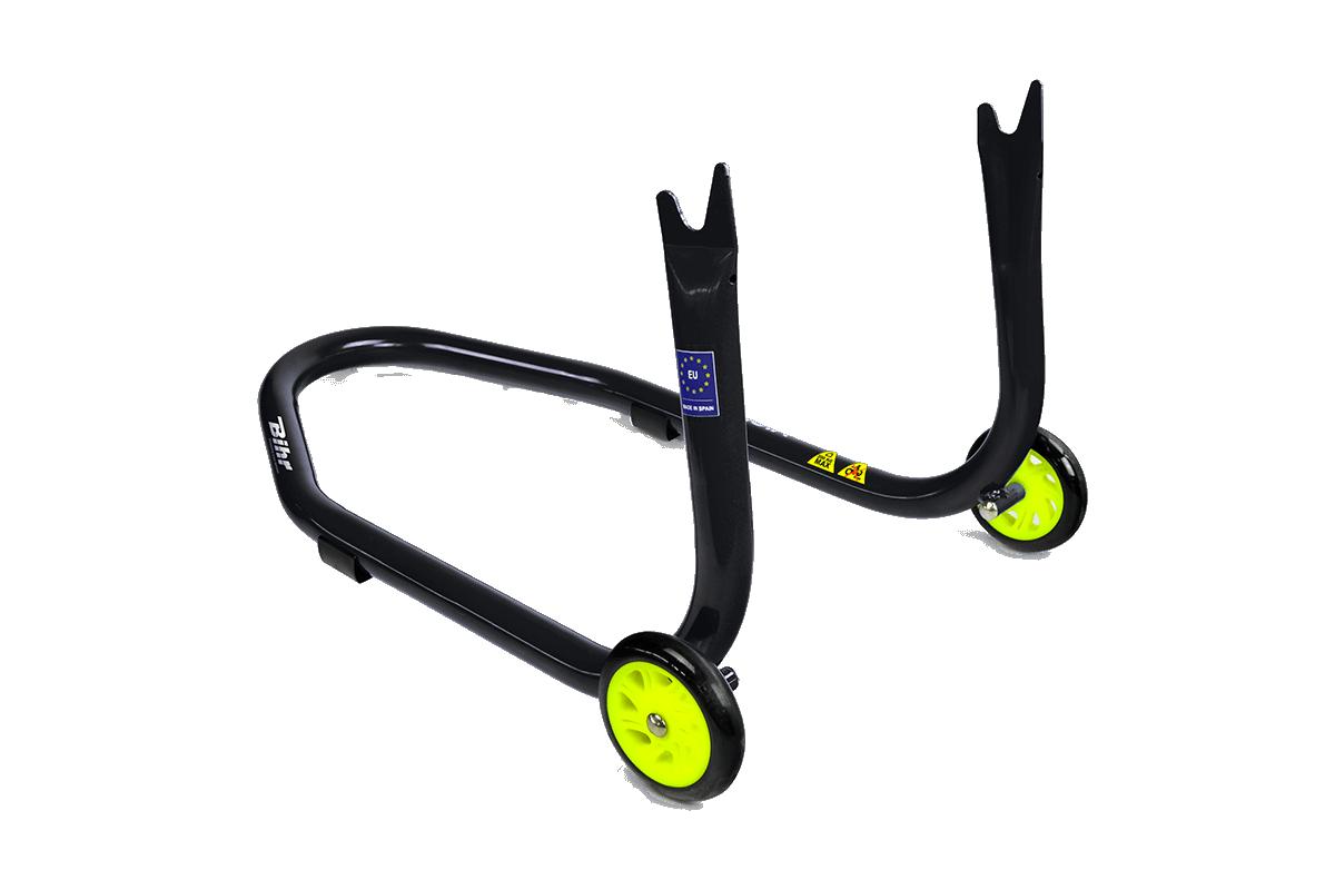 Caballete trasero Bihr con soportes en V para diábolos. Color negro y ruedas amarillas.