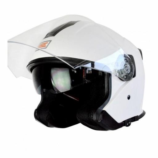 Casco urbano con gafa solar Demi-Jet Origine Palio Blanco brillo