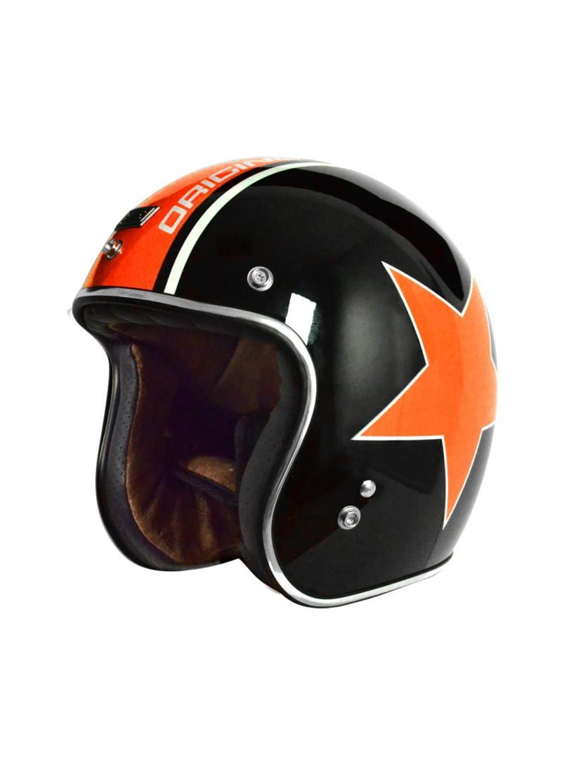 Casco Jet Origine Primo Astro Negro Estrella Naranaja color de Harley Davidson