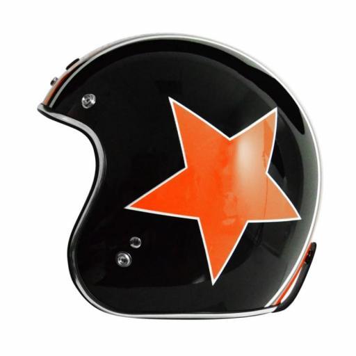 Casco Jet Origine Primo Astro Negro Estrella Naranaja color de Harley Davidson [1]