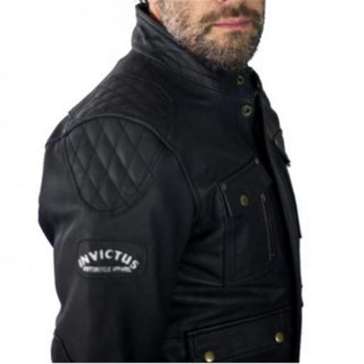 Chaqueta de Cuero de moto tres cuartos estilo Cafe Racer   bolsillos frontales [1]