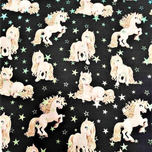 PANEL FRENCH TERRY IMPRESIÓN DIGITAL UNICORNIOS SMALL GLITTER NEGRO