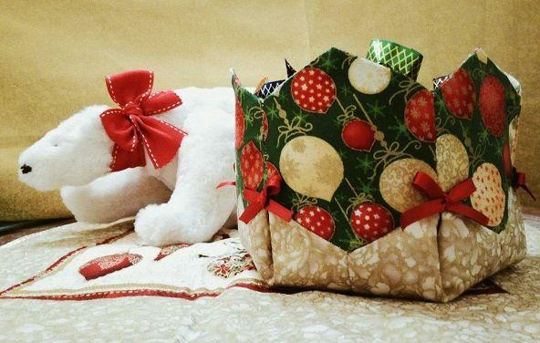 Bombonera realizada con telas de navidad