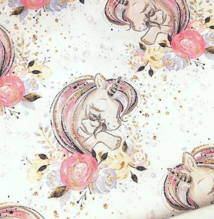Popelín estampado unicornio blanco