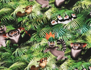 Tela punto camiseta estampado película Madagascar