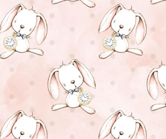 Tela infantil estampada Conejo de Alicia en el País d elas Maravillas