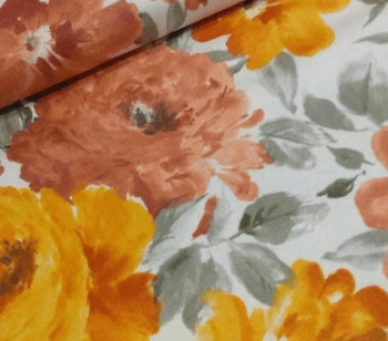 Loneta de oferta con flores naranjas