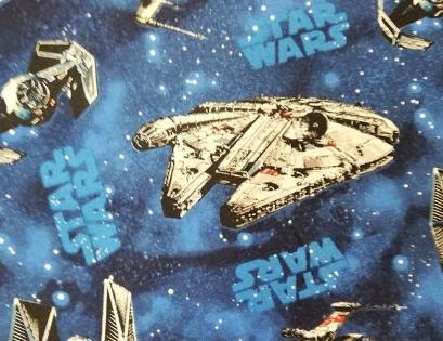 Tela Star wars estampada con naves espaciales