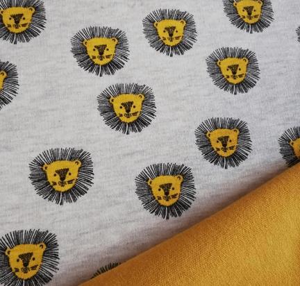 Tela sudadera estampado de leones