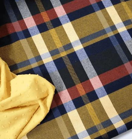 Tela viyela estampado cuadro escocés amarillo