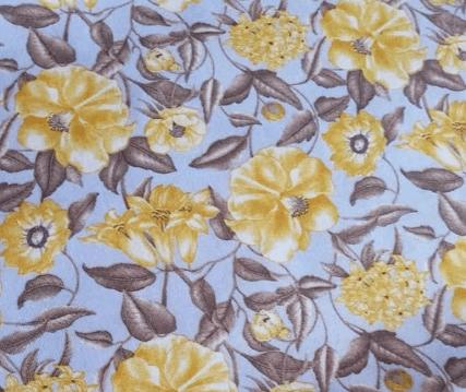 Tela viyela estampado flores amarillas