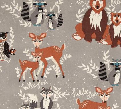 Tela infantil de ciervos y zorros