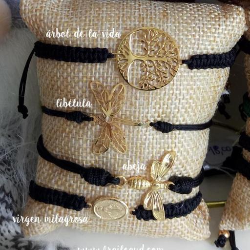 Pulsera abeja oro macramé [1]