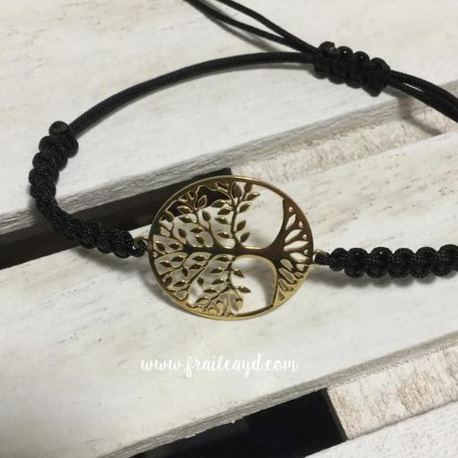 Pulsera árbol de la vida oro macramé