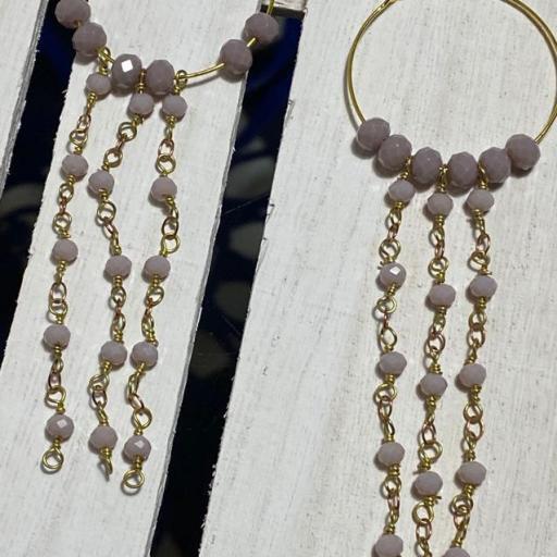 Pendientes largos Hippie cristal y cadenas de rosario rosa empolvado [1]