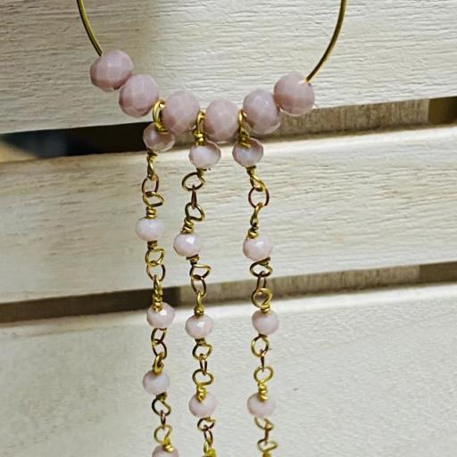 Pendientes largos Hippie cristal y cadenas de rosario rosa empolvado [2]