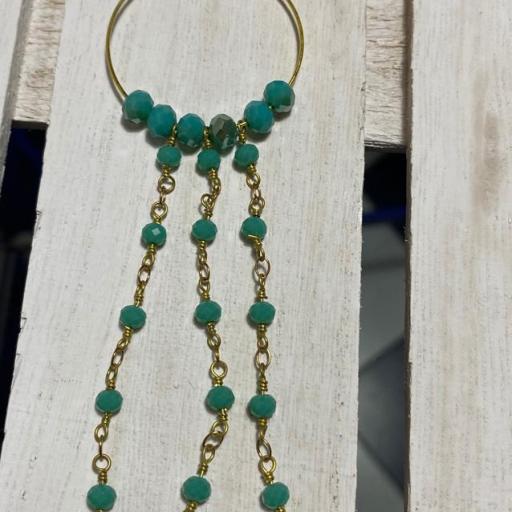 Pendientes largos Hippie cristal y cadenas de rosario rosa verde agua [1]