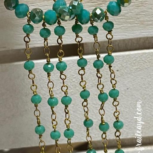 Pendientes largos Hippie cristal y cadenas de rosario rosa verde agua