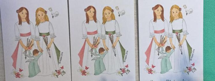 Dos hermanas y un angelito reciben a Jesús