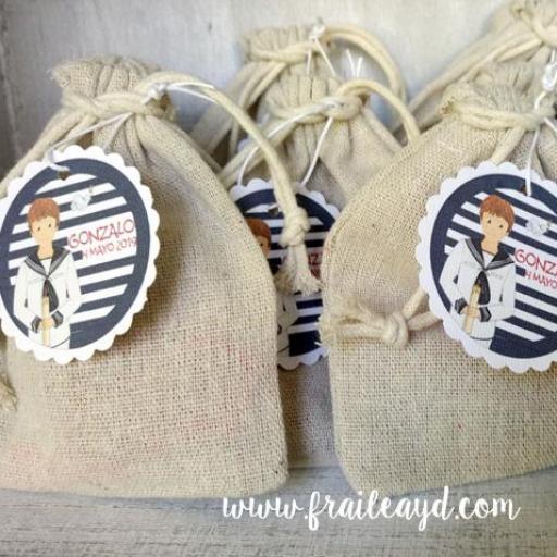 Pack 10 pulseras de oración con medalla en bolsa de lino/saco [2]