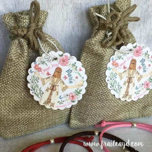 Pack 10 pulseras antelina medalla milagrosa mini en bolsa de lino/saco con etiqueta personalizada [3]