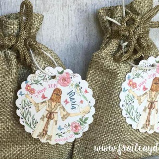 Pack 24 pulseras de oración con medalla en bolsa de lino/saco [2]