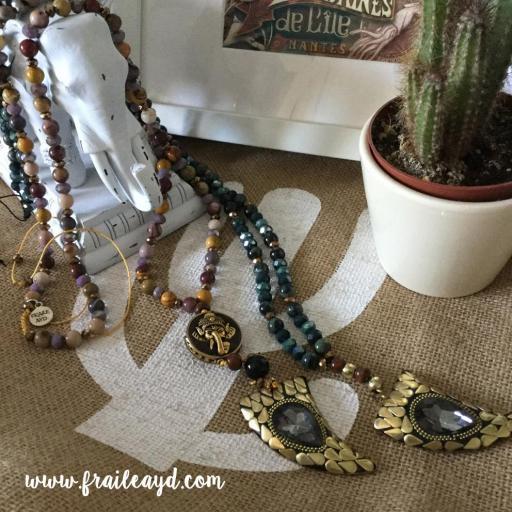 Collar largo jaspe mokaita y cristal con cuerno 1 [3]