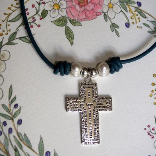 Gargantilla cruz Padrenuestro cuero [0]