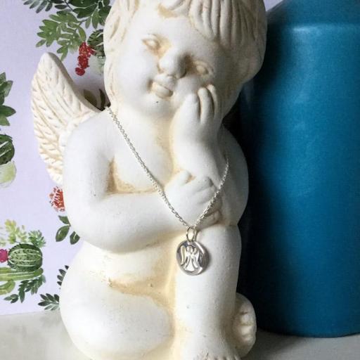 Colgante medalla angelito calado con cadena plata [1]