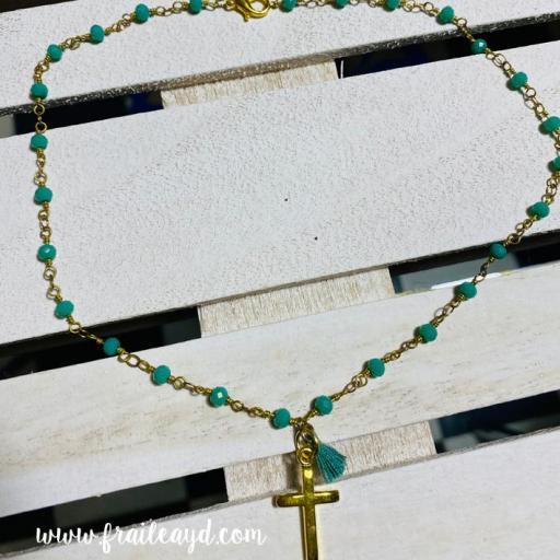 Gargantilla Hippie cadena de rosario con cruz y borla [2]