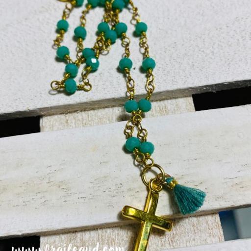 Gargantilla Hippie cadena de rosario con cruz y borla [1]