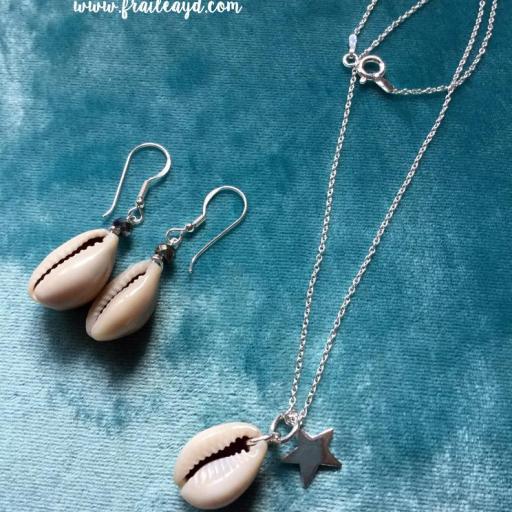 Colgante de concha con estrella y cadena plata [1]