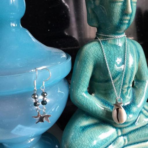 Pendientes estrella y cristal plata [1]