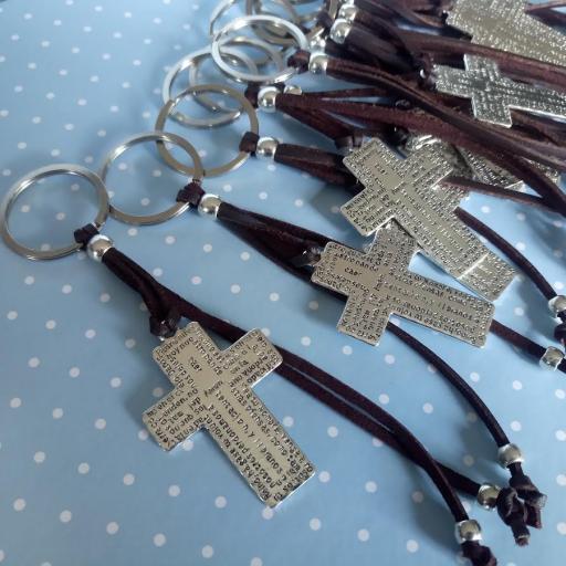 Llavero cruz Padrenuestro con adornos antelina [3]