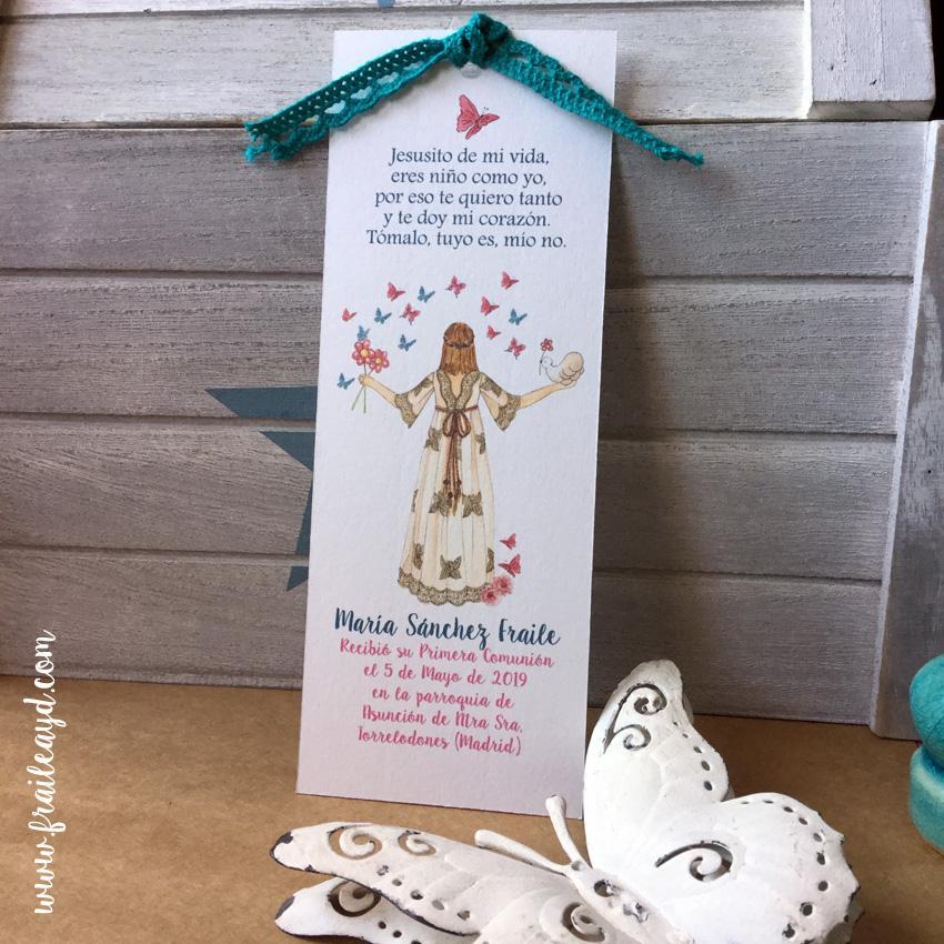 Marcapáginas Mariposas Mon Air 9x14 cm con puntilla o lazo liberty