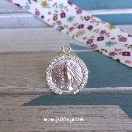 Medalla Virgen Milagrosa redonda plata circonitas